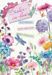 """With Love Sister-in-Law Birthday Card. Large Card 9"""" x 6"""". Size: 19.5cm x13.5cm"""
