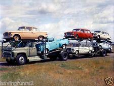 New listing 1960s Studebaker Larks On Car Carrier Kodachrome 8 x 10 Photograph