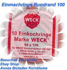 10 Einkochringe (Ringe, Gummiringe) - 94x 108- RR 100 für WECK Einkochgläser