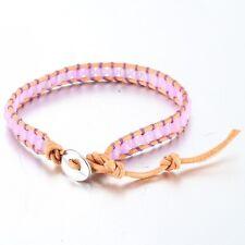 Light Brown Leather Bead Wrap Friendship Bracelet, With Purple Onyx Beads.