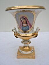 Vase medicis porcelaine paris décor Vierge Marie croix époque 19ème
