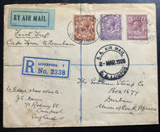 1925 Liverpool England Early Airmail First Flight cover To Durham South Africa