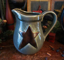 Primitive Antique Vtg Style Grey Star Stoneware Pitcher Jug Pot Crock Home Deco