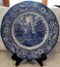 Liberty Blue Flow Blue Independence Hall Staffordshire Plate