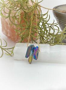 Raw Titanium Quartz Point Necklace Stainless Steel Chain Gold Rainbow Crystal