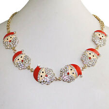 Christmas 6 Santa Claus Chain Necklace Red Austrian Crystal Women Lovely Gift