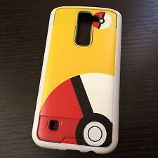 For LG K7 / Tribute 5 - Hybrid Brushed Armor Case Cover Yellow Pokemon Pokeball