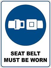 Mandatory Seat Belt Must 5 Sticker Sign Decal Set For Public Safety WH&S OHS WHS