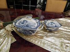 große Zuckerdose Bonboniere Johnson Bros England Old Britain Castles blau