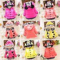 Toddler Kids Girls Hooded Coat Snowsuit Winter Warm Thicken Jacket Outerwear Top
