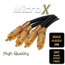 0.5m Premium Gold OFC Twin 2 x Phono RCA Stereo Cable Lead Shielded 50cm