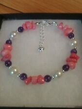 Swarovski Crystal Coated & Amethyst Bracelet New Dyed Coral With Creamrose Pearl