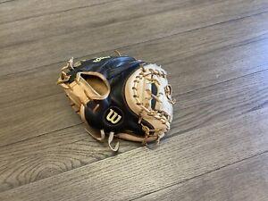 """Wilson A2000 1790 34"""" Catchers Mitt Baseball Glove Black Camel"""