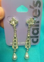 One Pair Claire's Dangling Rhinestone Silvertone And Faux Pearl Earrings New!