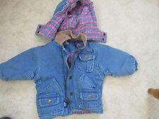 Jacket Flannel Lined Detachable Hood Denim Girls size 12 months