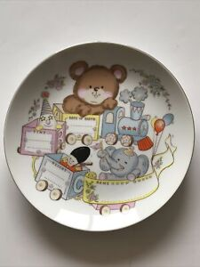 "Vintage Nursery Baby Decor Porcelain Plate Birth Record Japan 8.5"""