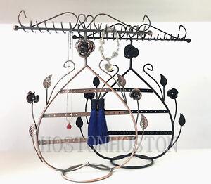 Metal Rose Floral Heart Jewellery Necklace Display Stand Rack Holder Hanger