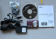 NOT WORKING NIKON DIGITAL COMPACT CAMERA COOLPIX S220 WITH ACCESSORIES USED