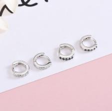 925 Sterling Silver Huggie Hoop CZ Earrings Children Girls Size 6mm Unisex C4
