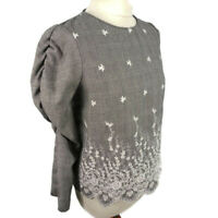 Zara Size S 10 Grey Fine Check Embroidered Top Button Back Blouse 3/4 Sleeve