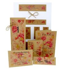 Handmade personalised Vintage Flowers Wedding Stationery (RSVP, Invitations etc)