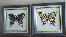BUTTERFLIES moths insects framed NEEDLEPOINT ART wall plaques BOHO bohemian chic