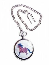 Pocketwatch with spring loaded lid and Chain Horse Riding