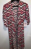Lularoe Shirley Aztec Cardigan Kimono Duster Pink Black Open Front Size S Fun
