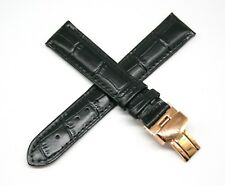 "Watch Strap 7.5"" Black Gold New Lucien Piccard 18Mm Alligator Grain Real Leather"