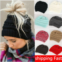 Women's Girl Stretch Knit Messy Bun Ponytail Beanie Holey Warm Hats Winter Caps