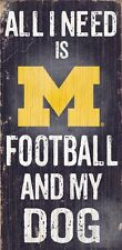 "MICHIGAN WOLVERINES FOOTBALL & my DOG WOOD SIGN & ROPE 12"" X 6""  NCAA MAN CAVE!"