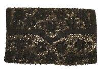 Vintage Purse Black Beaded Silk Satin Evening Clutch Bag 1950S