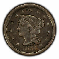 1854 1c Braided Hair Large Cent SKU-Y2861