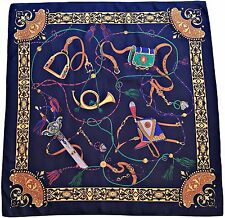 "VINTAGE EQUESTRIAN  ART HUNTING ACCESSORIES DARK BLUE RED BROWN 34""SQUARE SCARF"