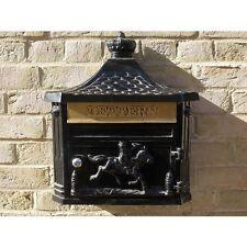 Vintage Style Wall Mounted Aluminium Post Box -  Letter Box Black