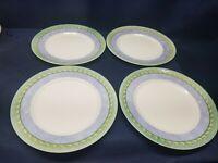 "Corningware Dinnerware""Palazzo"" Set/4 Dinner Plates Green/Blue/Yellow Border"