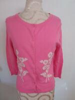 GARNET HILL Pink Cotton Blend Knit Womens 3/4 Sleeve Button Cardigan Sweater S