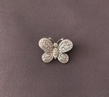 14k Solid White Gold Brooch Butterfly Genuine Diamond