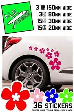 36 Daisy Stickers Flower Decal Vinyl Car Wall VW Camper Tikes Daisies RED