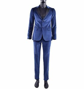 Moschino Suit Made of Velvet With Contrast Collar Blazer Jacket Blue Black 04798