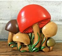 Vintage Retro 70s Ceramic Mushroom Napkin Sponge Mail Holder Funky Kitchen Decor