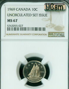 1969 CANADA 10 CENTS NGC MAC MS67 UCAM SOLO FINEST SPOTLESS  *