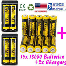 10Pcs Powerful 18650 Battery Li-ion 3.7v Rechargeable Battery + Smart Charger US