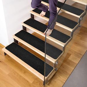 Set of 7 Non Slip Carpet Stair Treads Rug Non Skid Runner For Grip Black NEW