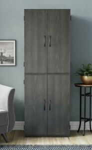 Tall Kitchen Pantry Cabinet 4 Door Storage Cupboard Organizer Furniture Shelves