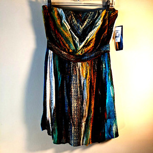 NWT Ruby Rox womens sundress lined back tie multicolored blue stripes Small 733