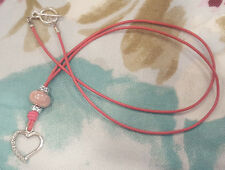 Rose Pink Leather Pink Glass Bead Eyeglass~Glasses Holder NECKLACE Heart LOOP