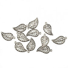 filigree leaf Tibetan Silver Bead charms pendant fit bracelet 10pcs 18*10mm