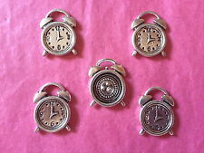 Tibetan Silver Alarm Clock Charm 5 per pack - double sided