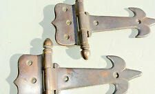 """2 small hinges vintage aged style solid Brass DOOR Stuning restoration heavy 5""""B"""